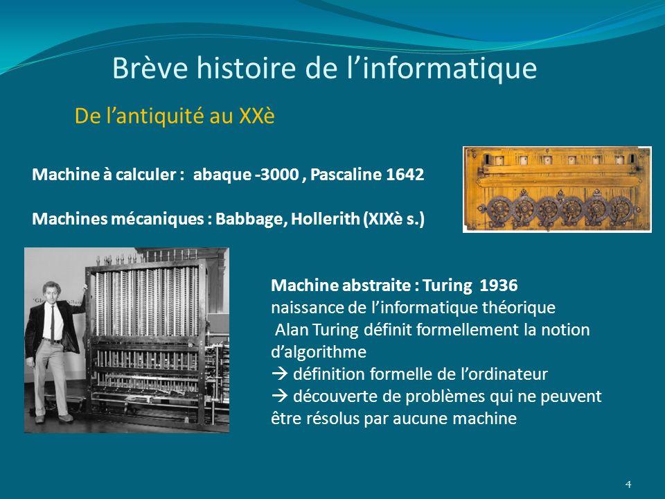 Brève histoire de linformatique De lantiquité au XXè 4 Machine à calculer : abaque -3000, Pascaline 1642 Machines mécaniques : Babbage, Hollerith (XIX