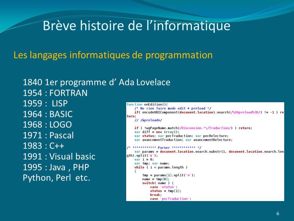 Les langages informatiques de programmation 6 1840 1er programme d Ada Lovelace 1954 : FORTRAN 1959 : LISP 1964 : BASIC 1968 : LOGO 1971 : Pascal 1983