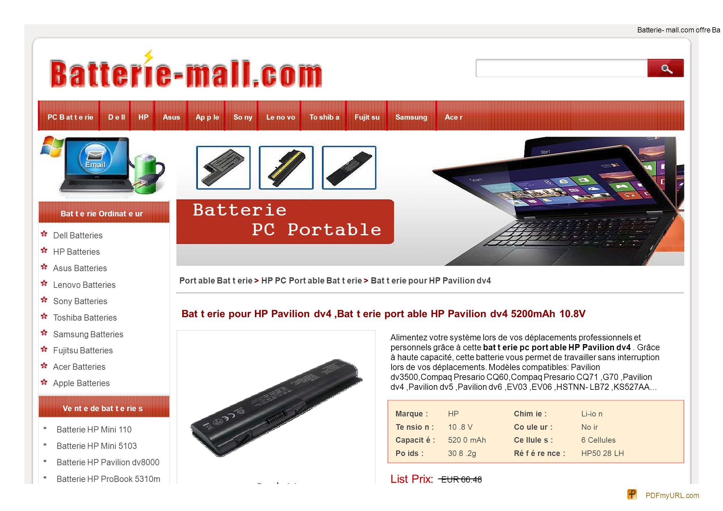 Batterie HP Probook 4330s Batterie HP Probook 4430s Batterie HP Probook 4530s Batterie HP Probook 4730s Batterie Compaq Armada M300 Batterie HP EliteBook 2530p Batterie HP EliteBook 2540p Batterie HP Compaq nc2400 Batterie HP TouchSmart tm2- 2100 Batterie Hp HDX18 Batterie HP EliteBook Folio 9470m Batterie Compaq Presario R3000 Batterie Compaq Presario R4000 Batterie HP Pavilion ZV5000 Batterie HP Pavilion ZV6000 Batterie HP COMPAQ NX9110 Batterie HP Compaq 2710p Batterie HP EliteBook 8460p Prix Spécial: EUR 52.38 20% de réduction.