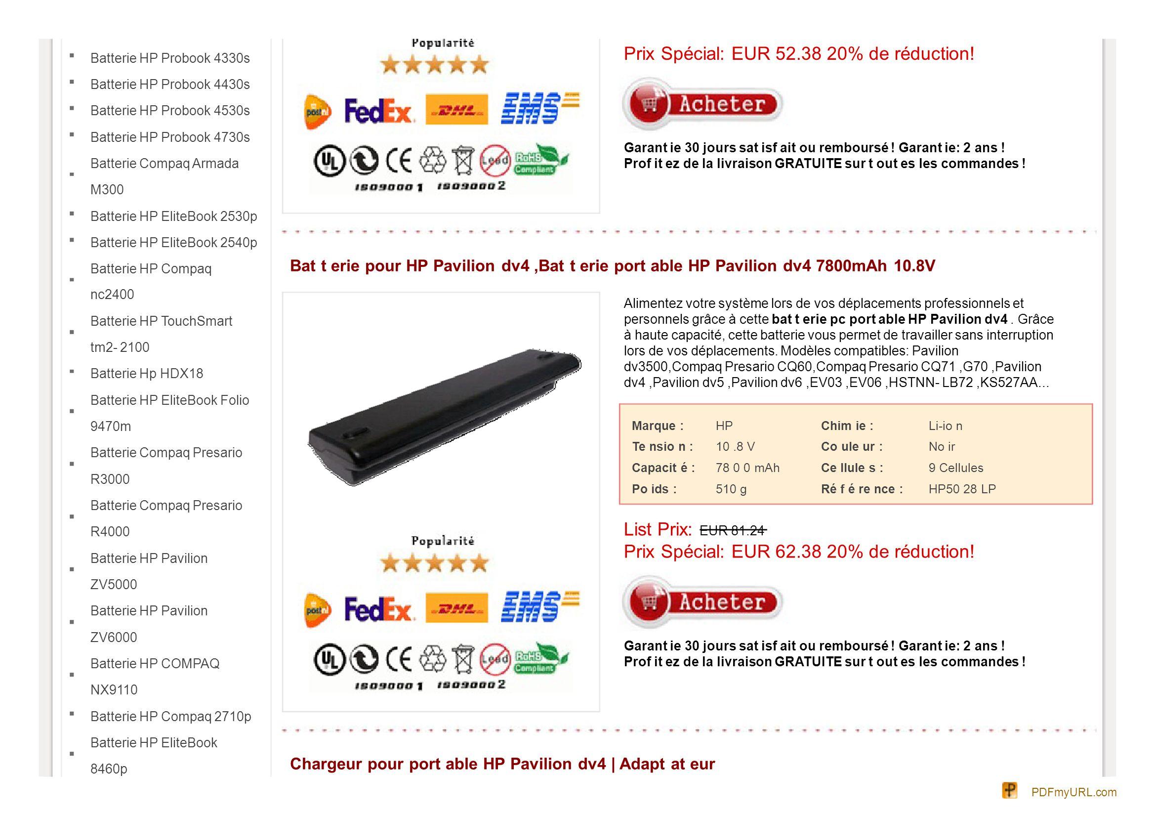 Batterie HP EliteBook 8460w Batterie HP EliteBook 8560w Batterie HP ProBook 6360b Batterie HP ProBook 6460b Batterie HP ProBook 6560b Batterie HP OmniBook XE2 Batterie HP Compaq NC4200 Batterie HP Compaq TC4400 Batterie HP ProBook 6470b Alimentation 100% neuf et exclusivement assemblé avec des composants de premier choix afin de répondre aux normes CE Livraison rapide.