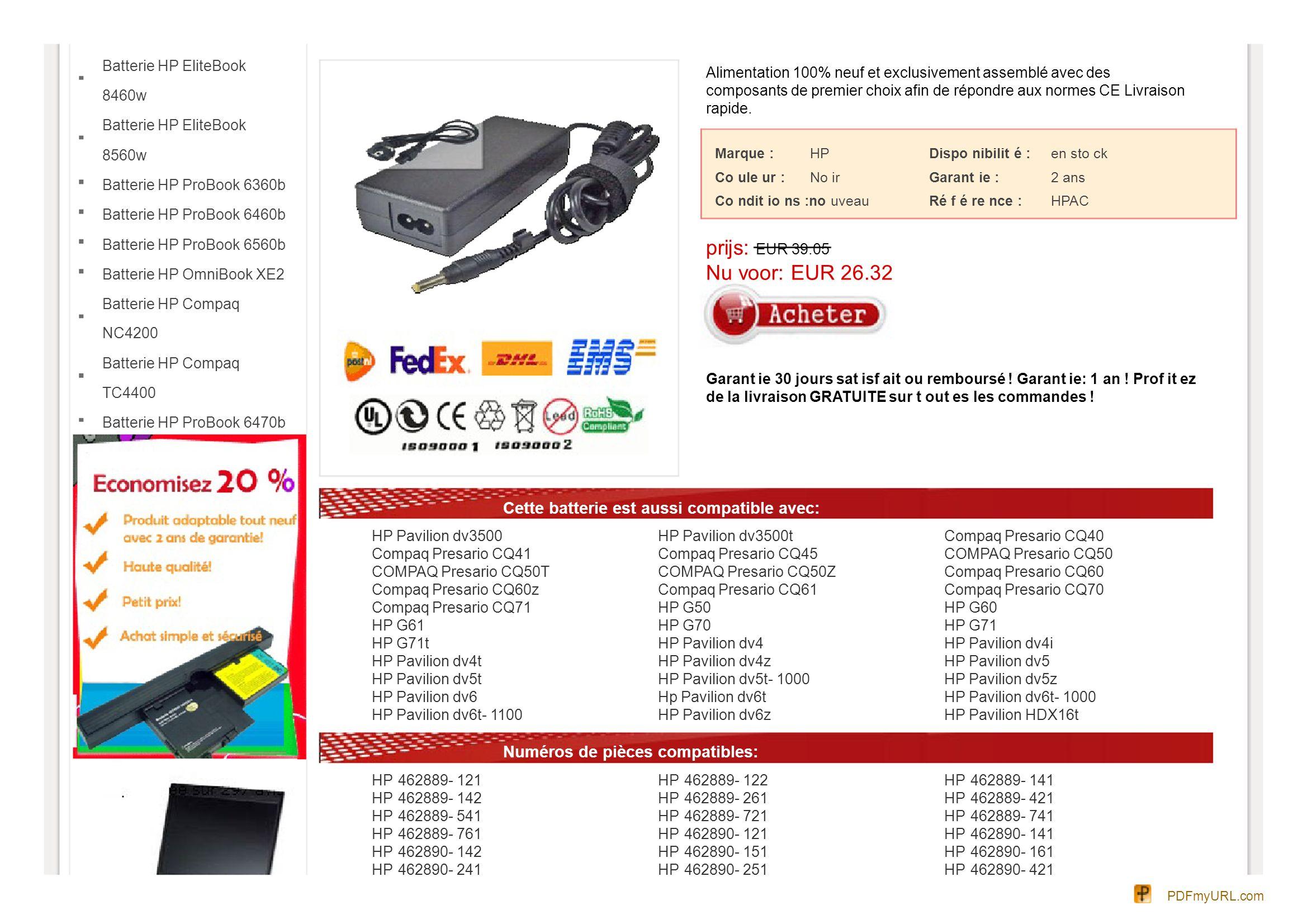 Batterie HP EliteBook 8460w Batterie HP EliteBook 8560w Batterie HP ProBook 6360b Batterie HP ProBook 6460b Batterie HP ProBook 6560b Batterie HP Omni