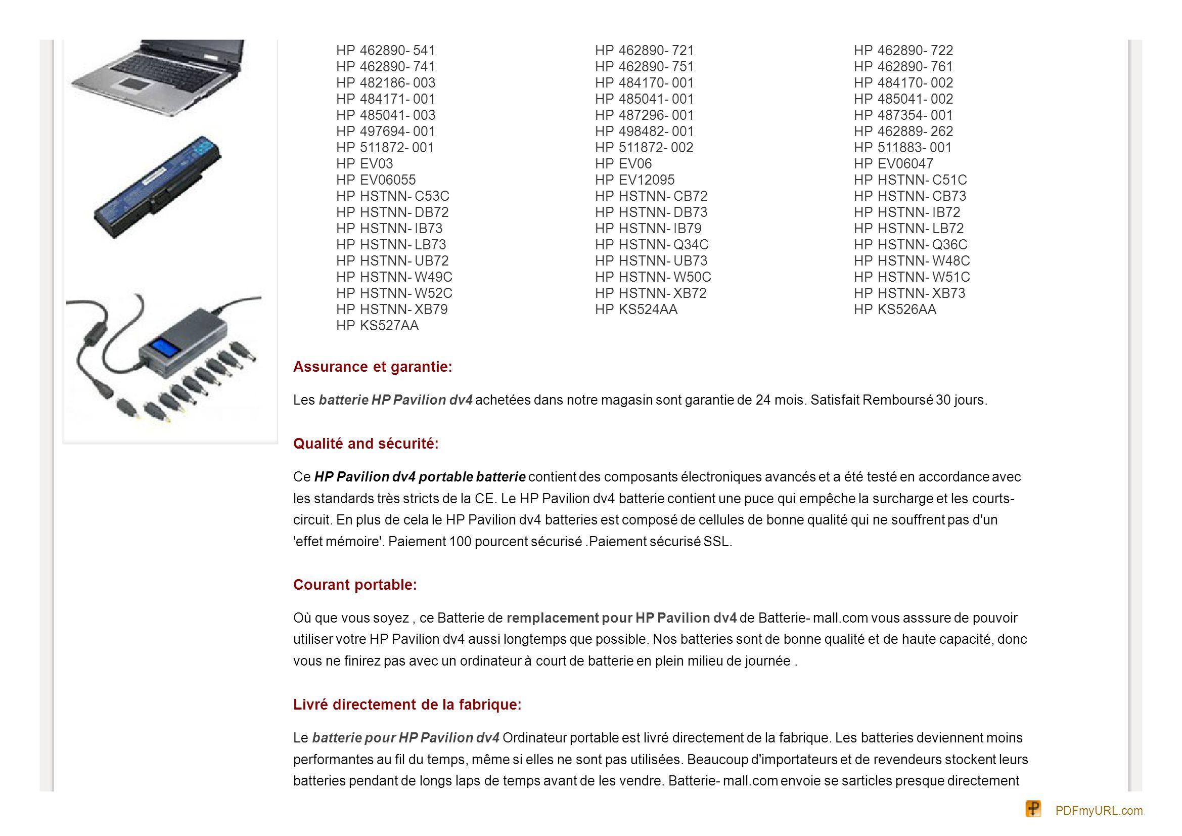 HP 462890- 541 462890- 741 482186- 003 484171- 001 485041- 003 497694- 001 511872- 001 EV03 EV06055 HSTNN- C53C HSTNN- DB72 HSTNN- IB73 HSTNN- LB73 HS
