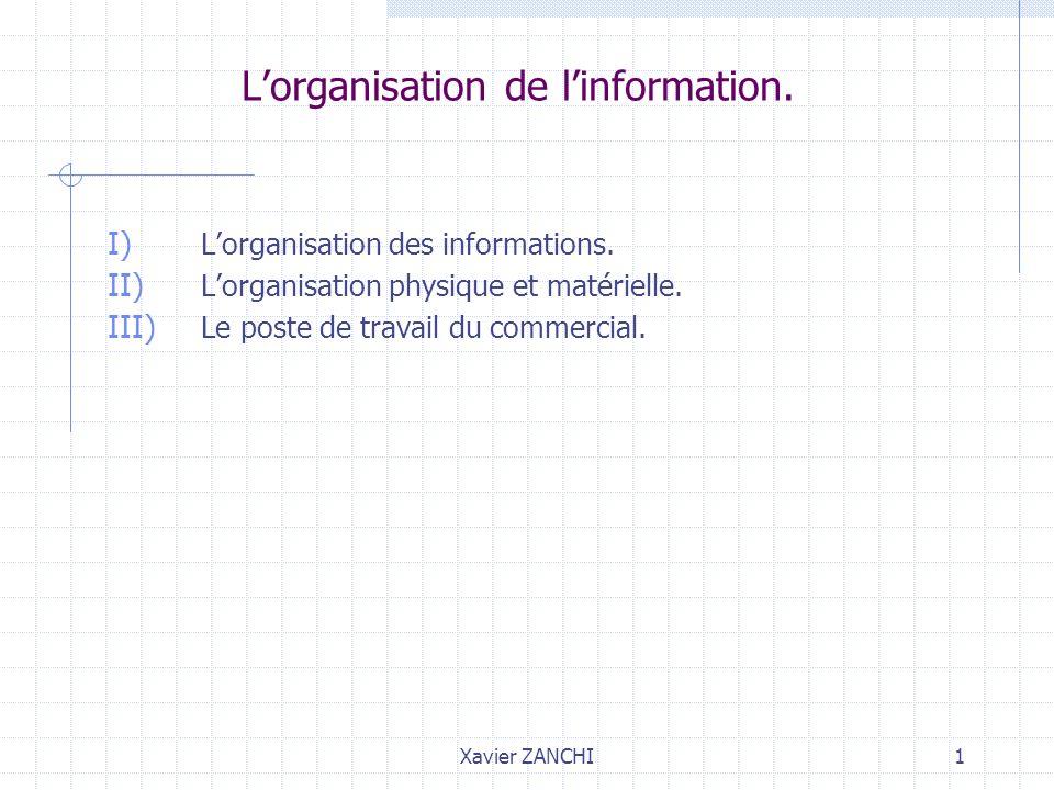 Xavier ZANCHI1 Lorganisation de linformation. I) Lorganisation des informations. II) Lorganisation physique et matérielle. III) Le poste de travail du