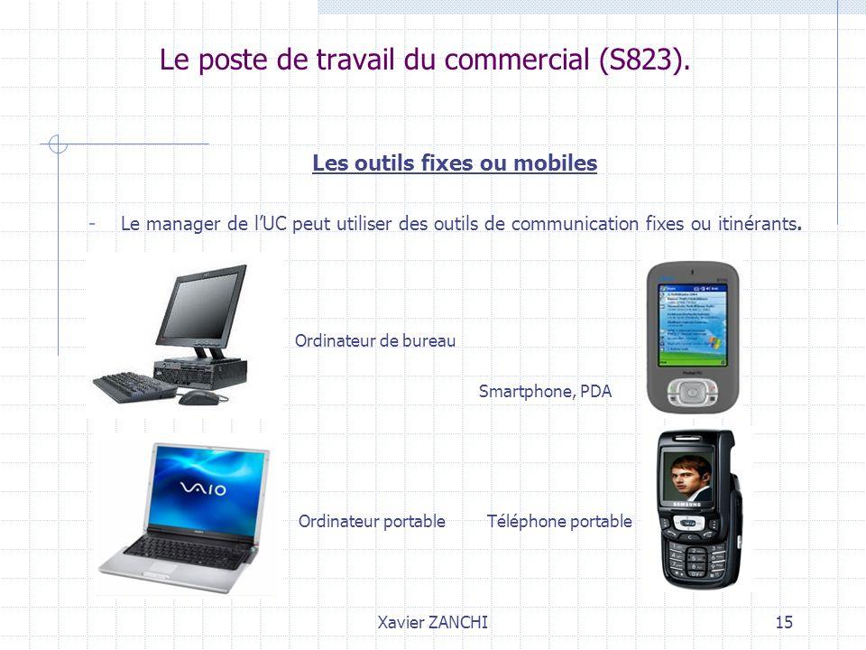 Xavier ZANCHI15 Le poste de travail du commercial (S823). Les outils fixes ou mobiles - Le manager de lUC peut utiliser des outils de communication fi