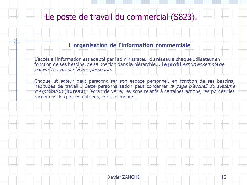 Xavier ZANCHI16 Le poste de travail du commercial (S823). Lorganisation de linformation commerciale - Laccès à linformation est adapté par ladministra