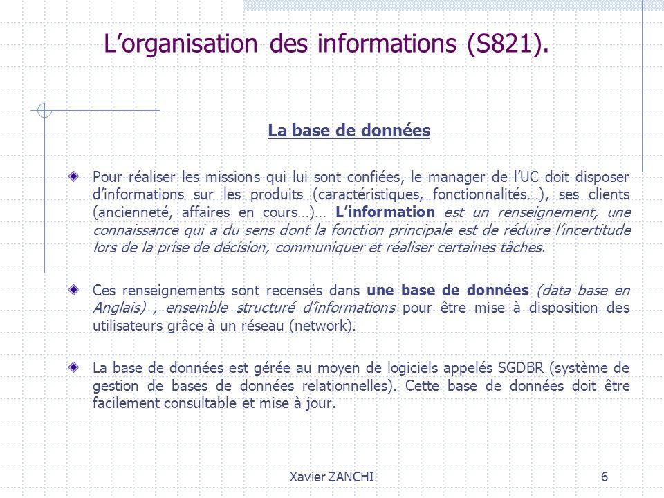 Xavier ZANCHI6 Lorganisation des informations (S821). La base de données Pour réaliser les missions qui lui sont confiées, le manager de lUC doit disp