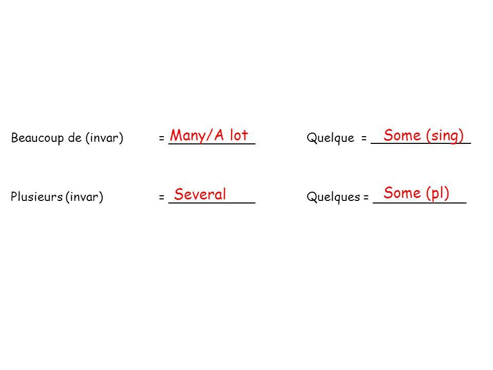 Beaucoup de (invar)= _____________ Quelque = _____________ Plusieurs (invar)= _____________ Quelques = ______________ Many/A lotSome (sing) Several So