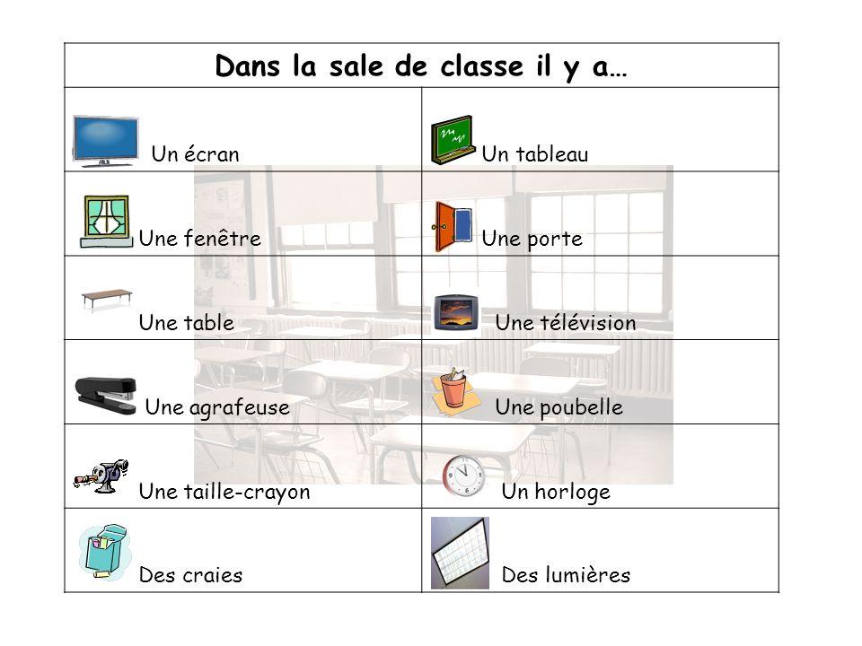 Dans la sale de classe il y a… Un écran Un tableau Une fenêtre Une porte Une table Une télévision Une agrafeuse Une poubelle Une taille-crayon Un horl