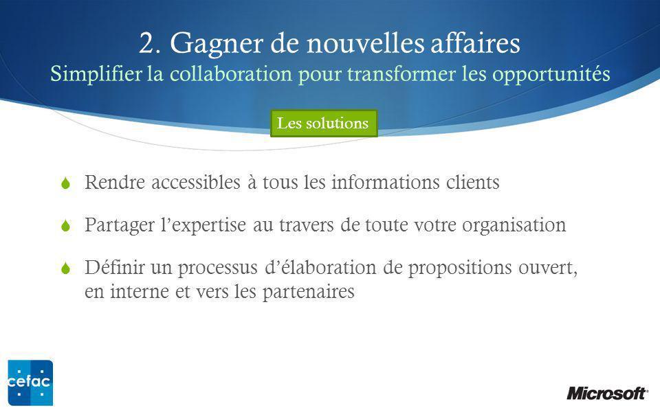 2. Gagner de nouvelles affaires Simplifier la collaboration pour transformer les opportunités Rendre accessibles à tous les informations clients Parta