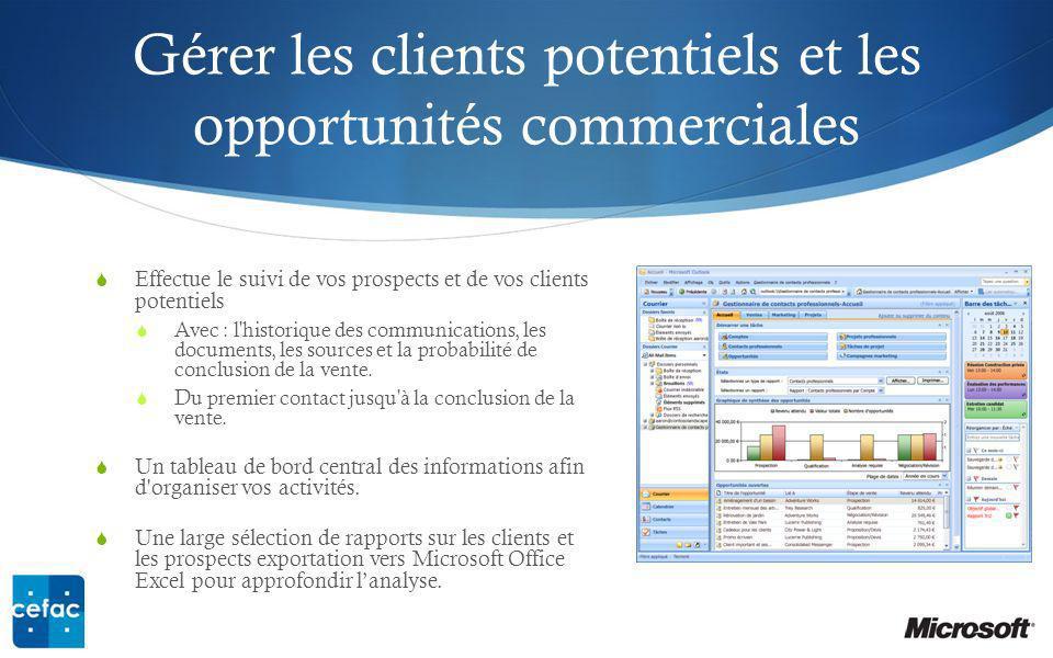 Gérer les clients potentiels et les opportunités commerciales Effectue le suivi de vos prospects et de vos clients potentiels Avec : l historique des communications, les documents, les sources et la probabilité de conclusion de la vente.