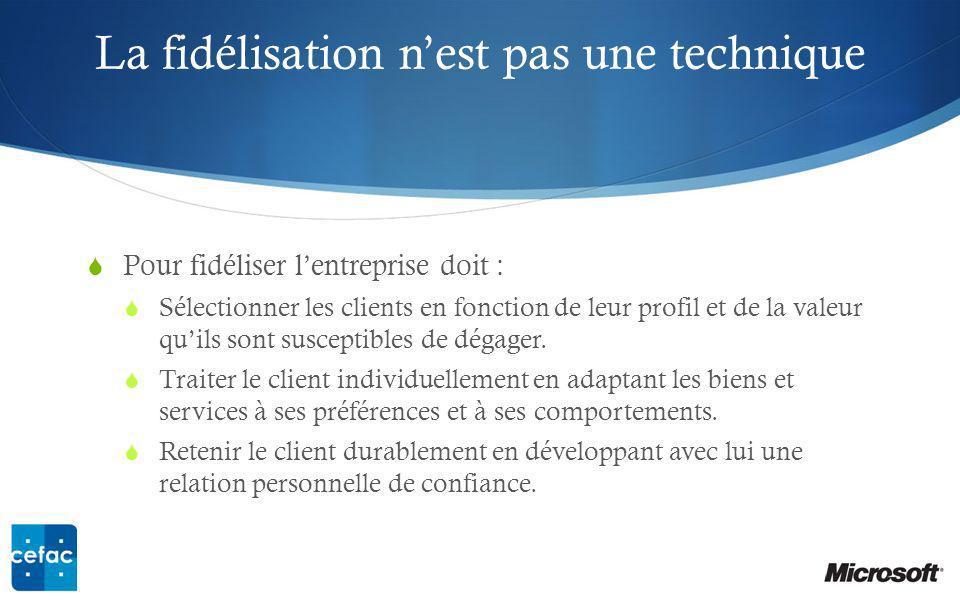 La fidélisation nest pas une technique Pour fidéliser lentreprise doit : Sélectionner les clients en fonction de leur profil et de la valeur quils sont susceptibles de dégager.