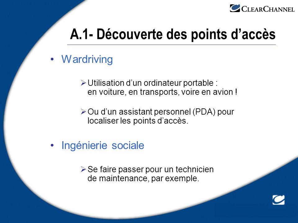 A.1- Découverte des points daccès Wardriving Utilisation dun ordinateur portable : en voiture, en transports, voire en avion ! Ou dun assistant person