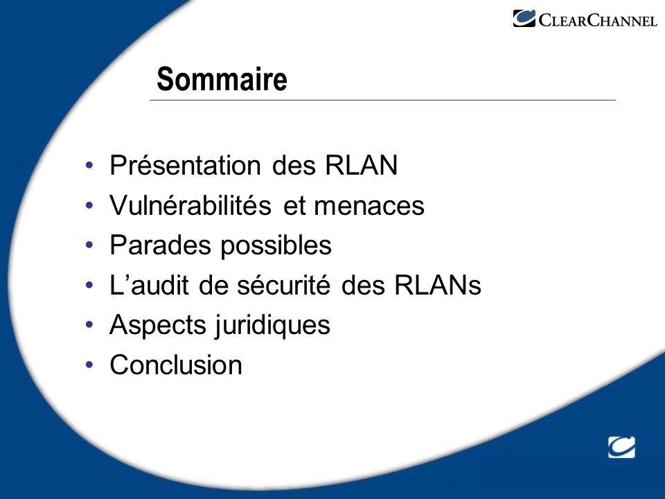 Quelques sources d informations 802.11 et les réseaux sans fil Par Paul Mühlethaler – Editions Eyrolles Etude de la DCSSI Présentation synthétique http://www.ssi.gouv.fr/fr/actualites/synthwifi.pdf Analyse des risques et recommandations http://www.ssi.gouv.fr/fr/actualites/Rec_WIFI.pdf Synthèse du CLUSIF « menaces, enjeux, parades » https://www.clusif.asso.fr/fr/infos/event/pdf/RSF.pdf