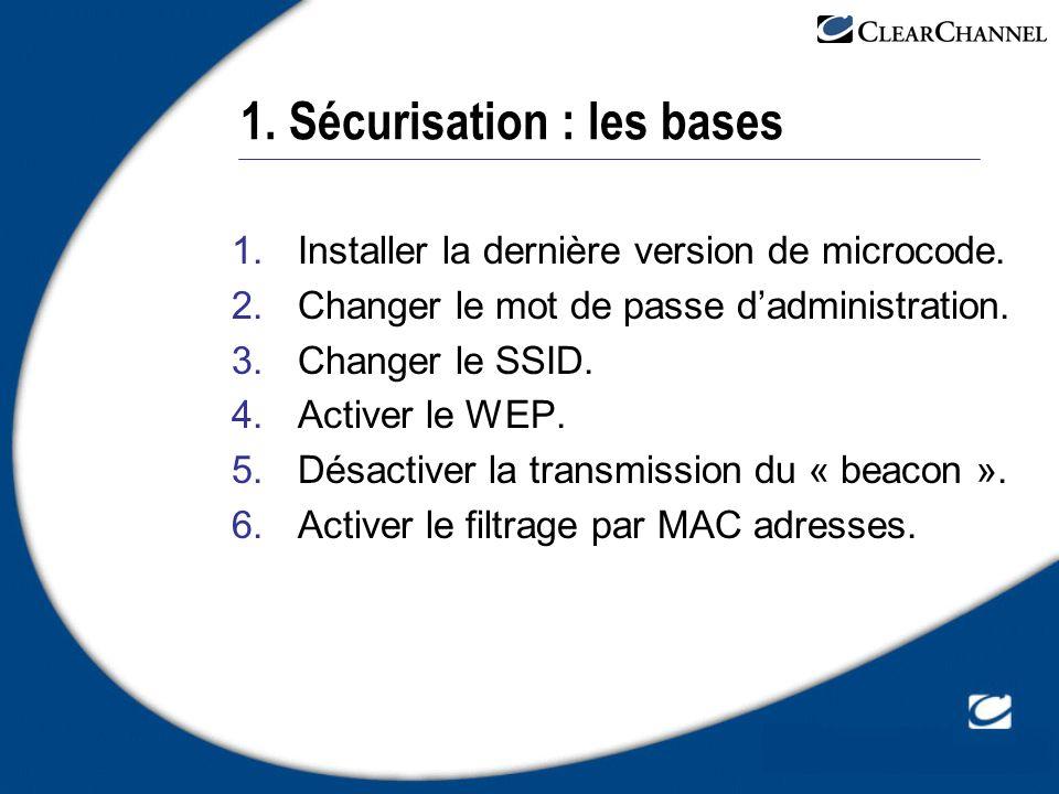 1. Sécurisation : les bases 1.Installer la dernière version de microcode. 2.Changer le mot de passe dadministration. 3.Changer le SSID. 4.Activer le W