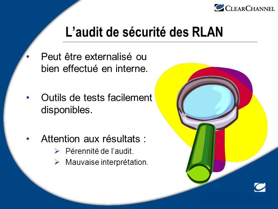 Laudit de sécurité des RLAN Peut être externalisé ou bien effectué en interne. Outils de tests facilement disponibles. Attention aux résultats : Péren