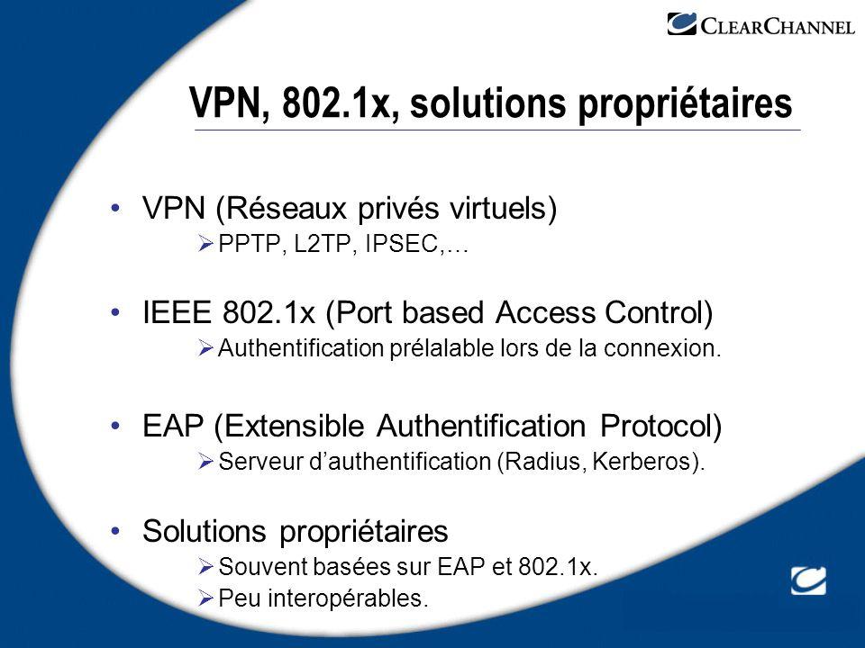 VPN, 802.1x, solutions propriétaires VPN (Réseaux privés virtuels) PPTP, L2TP, IPSEC,… IEEE 802.1x (Port based Access Control) Authentification prélal