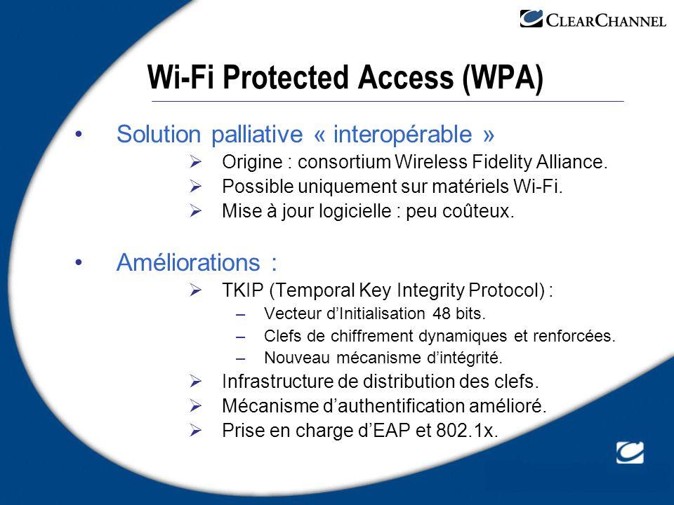 Wi-Fi Protected Access (WPA) Solution palliative « interopérable » Origine : consortium Wireless Fidelity Alliance. Possible uniquement sur matériels