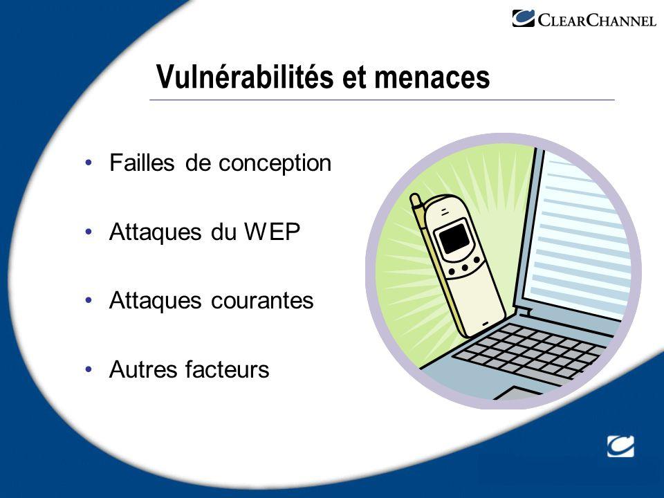 Vulnérabilités et menaces Failles de conception Attaques du WEP Attaques courantes Autres facteurs