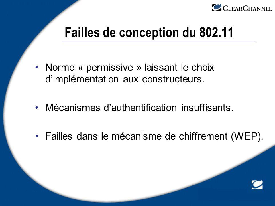 Failles de conception du 802.11 Norme « permissive » laissant le choix dimplémentation aux constructeurs. Mécanismes dauthentification insuffisants. F