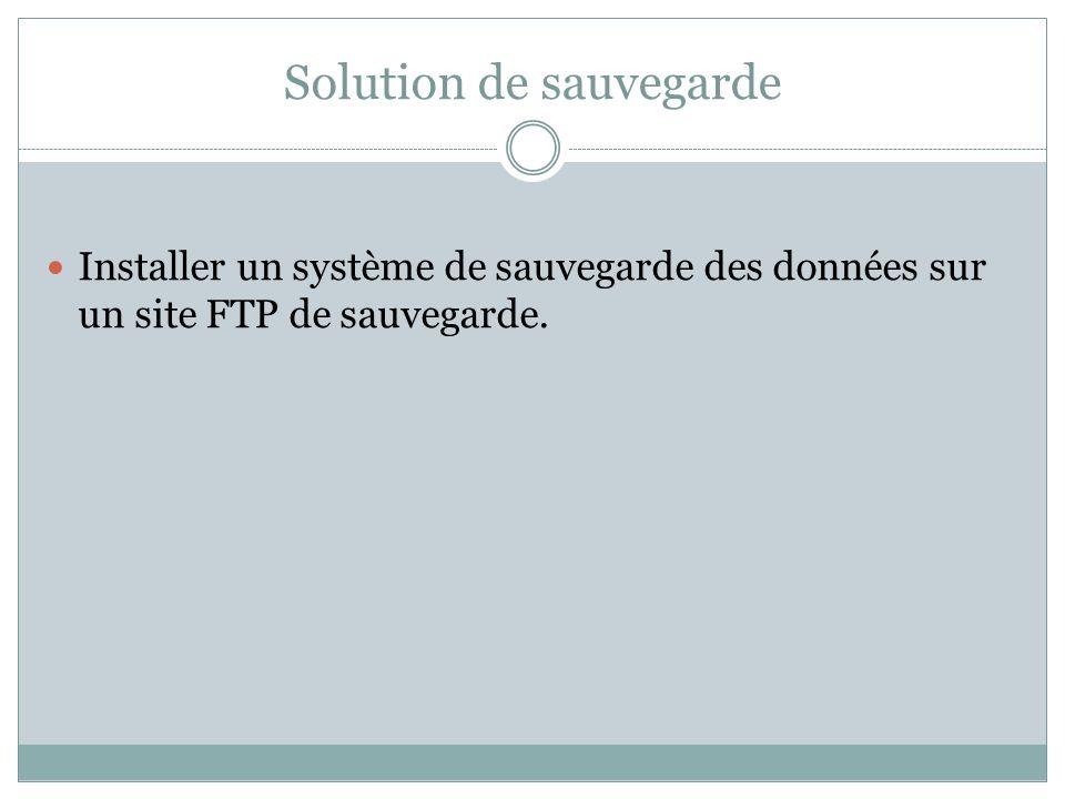 Solution de sauvegarde Installer un système de sauvegarde des données sur un site FTP de sauvegarde.