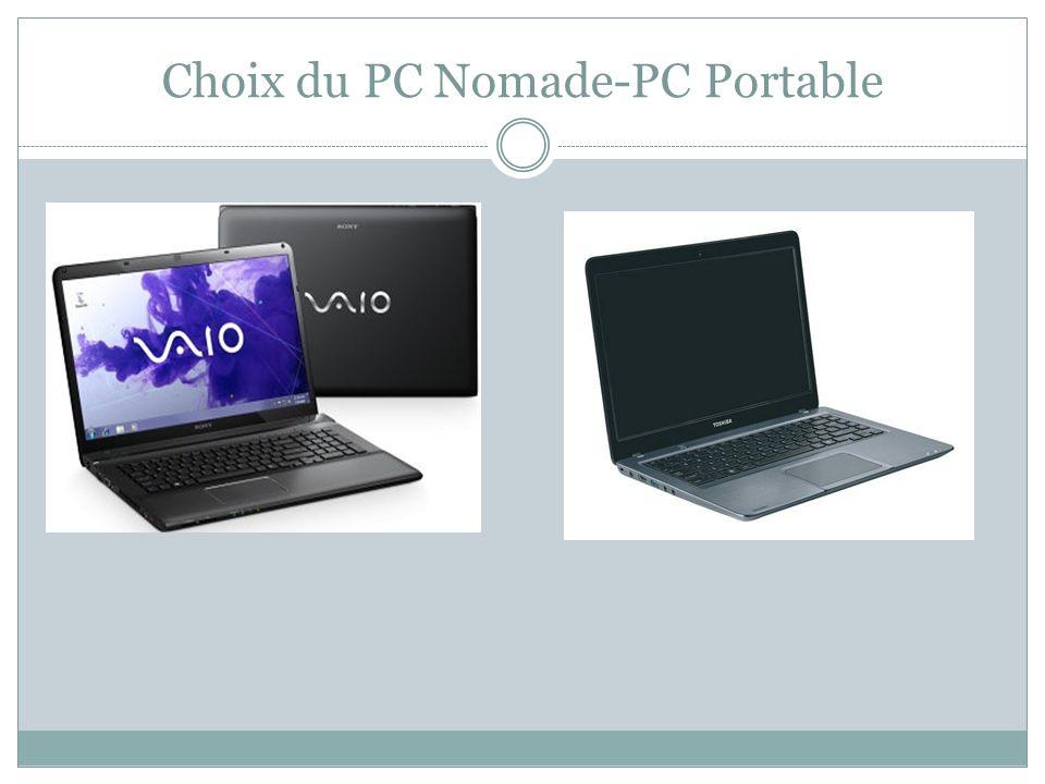 Choix du PC Nomade-PC Portable