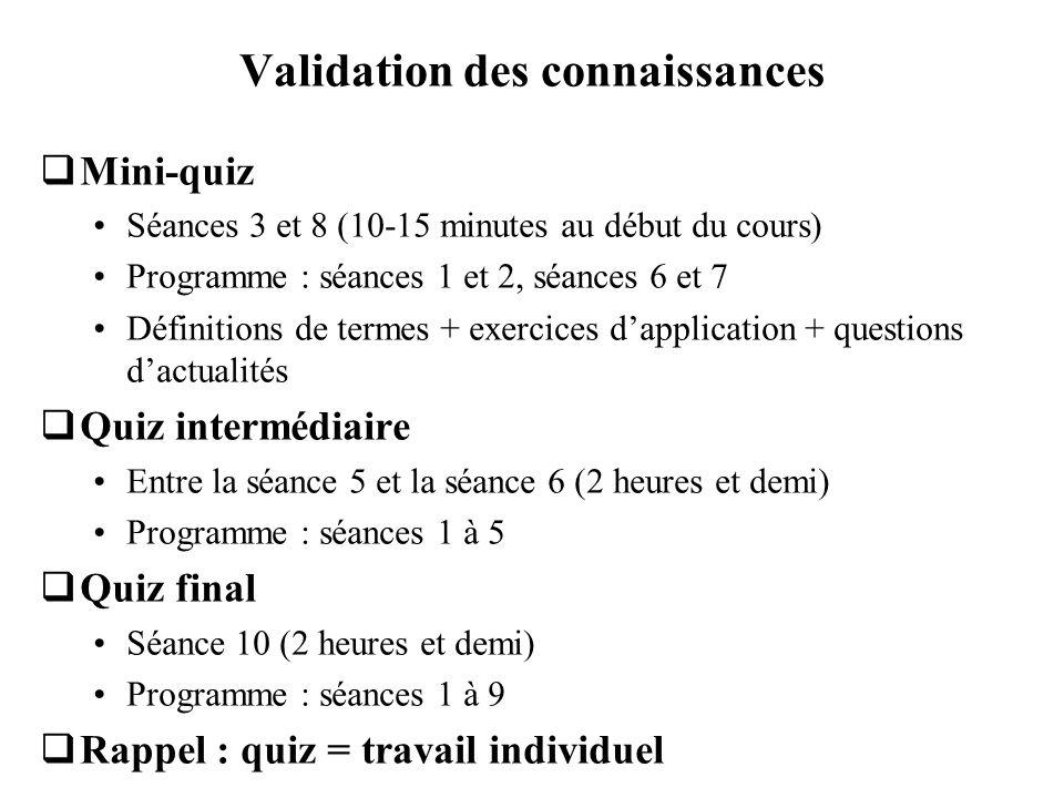 Validation des connaissances Mini-quiz Séances 3 et 8 (10-15 minutes au début du cours) Programme : séances 1 et 2, séances 6 et 7 Définitions de term