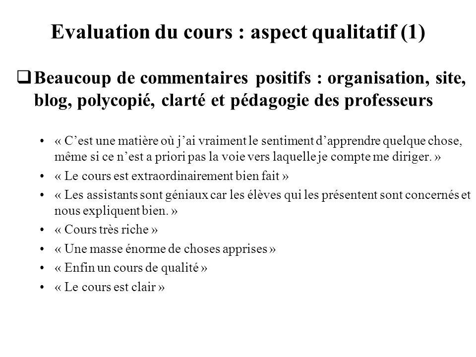 Evaluation du cours : aspect qualitatif (1) Beaucoup de commentaires positifs : organisation, site, blog, polycopié, clarté et pédagogie des professeu