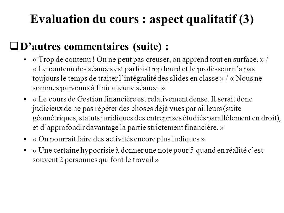 Evaluation du cours : aspect qualitatif (3) Dautres commentaires (suite) : « Trop de contenu ! On ne peut pas creuser, on apprend tout en surface. » /