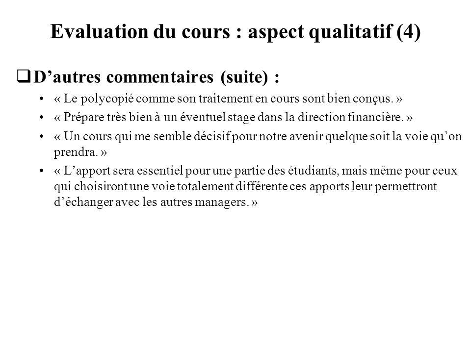 Evaluation du cours : aspect qualitatif (4) Dautres commentaires (suite) : « Le polycopié comme son traitement en cours sont bien conçus. » « Prépare