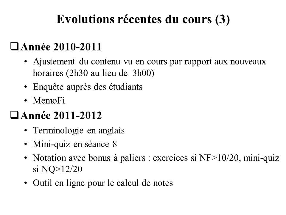 Evolutions récentes du cours (3) Année 2010-2011 Ajustement du contenu vu en cours par rapport aux nouveaux horaires (2h30 au lieu de 3h00) Enquête au