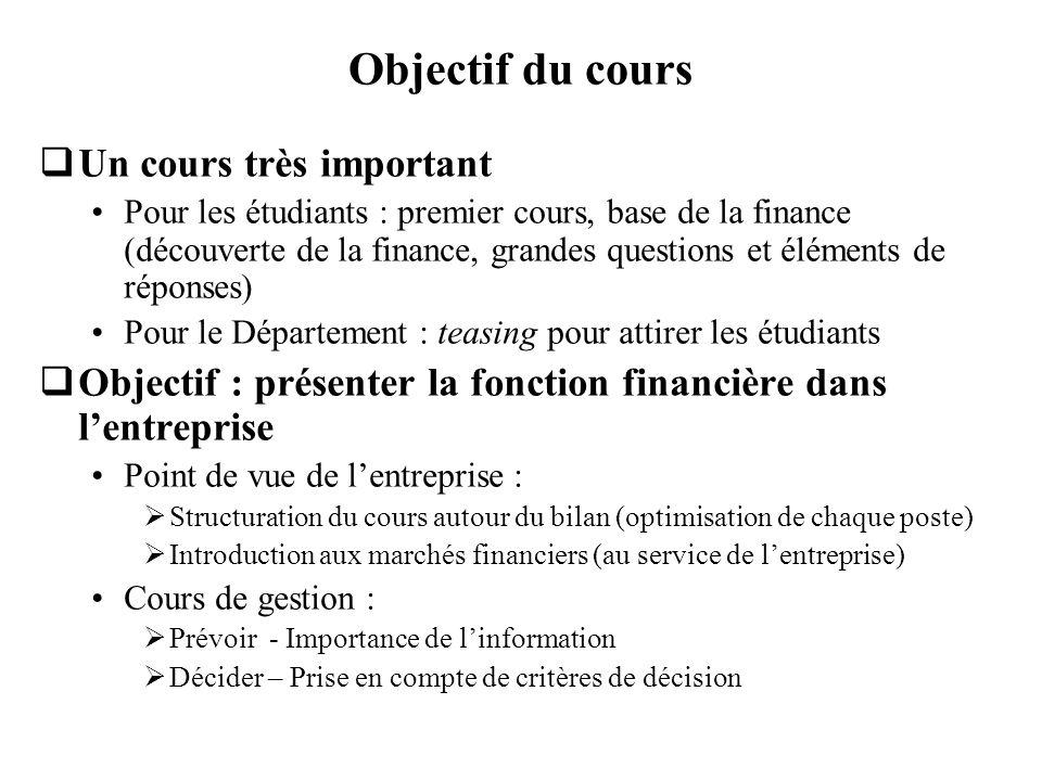 Objectif du cours Un cours très important Pour les étudiants : premier cours, base de la finance (découverte de la finance, grandes questions et éléme