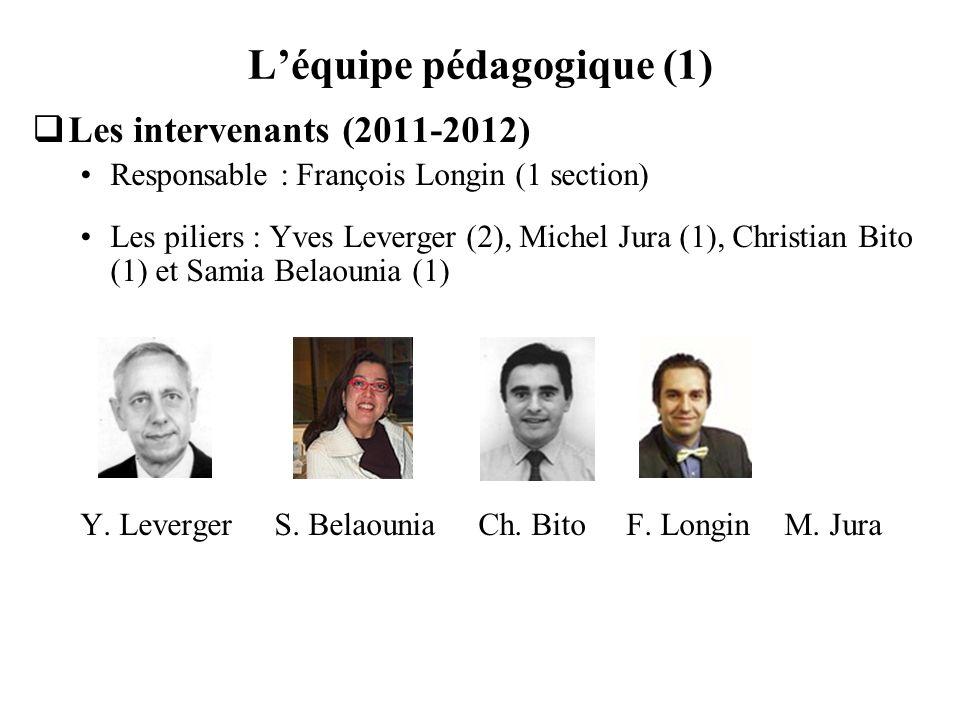 Léquipe pédagogique (1) Les intervenants (2011-2012) Responsable : François Longin (1 section) Les piliers : Yves Leverger (2), Michel Jura (1), Chris