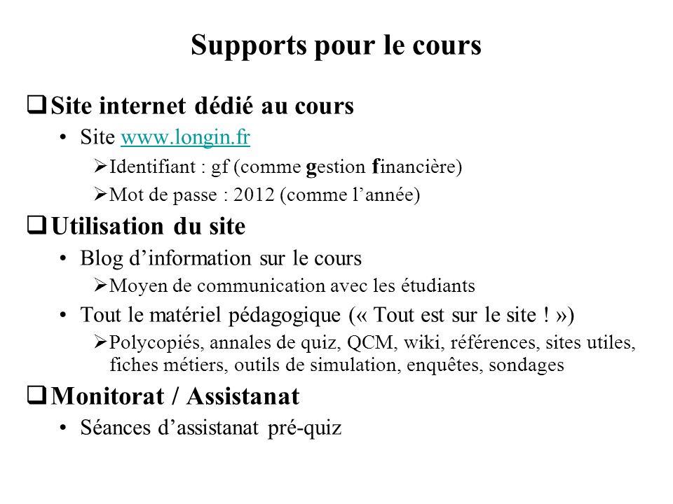 Supports pour le cours Site internet dédié au cours Site www.longin.frwww.longin.fr Identifiant : gf (comme g estion f inancière) Mot de passe : 2012