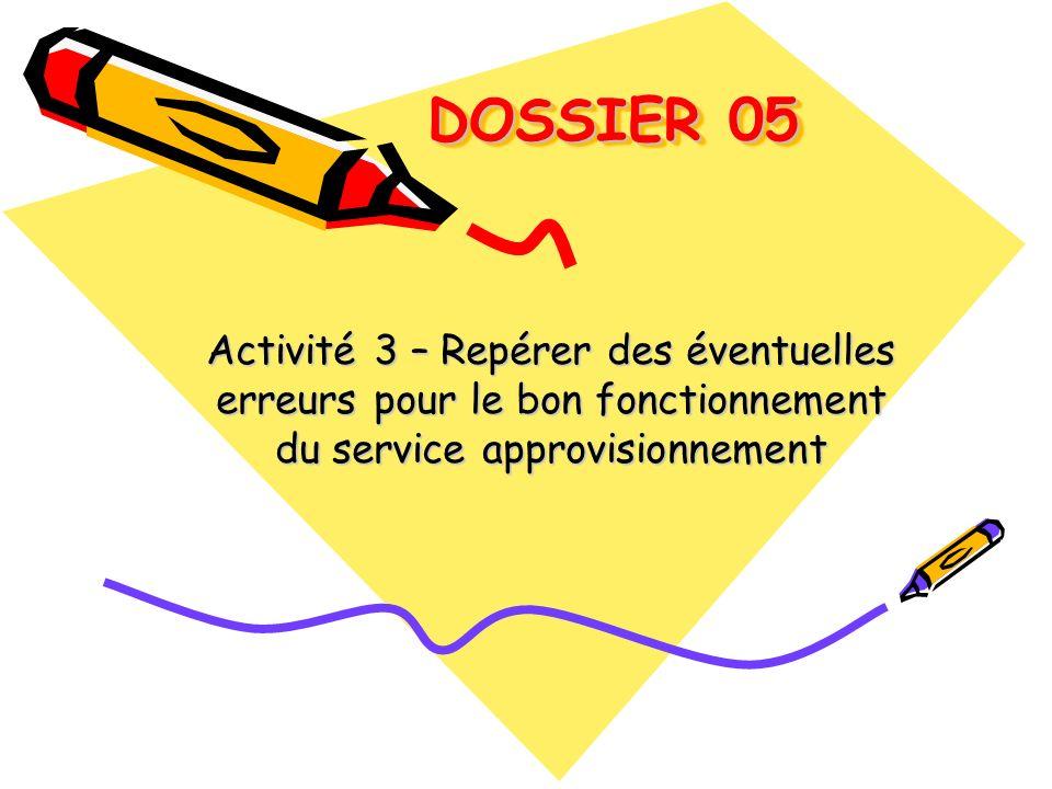 DOSSIER 05 DOSSIER 05 Activité 3 – Repérer des éventuelles erreurs pour le bon fonctionnement du service approvisionnement