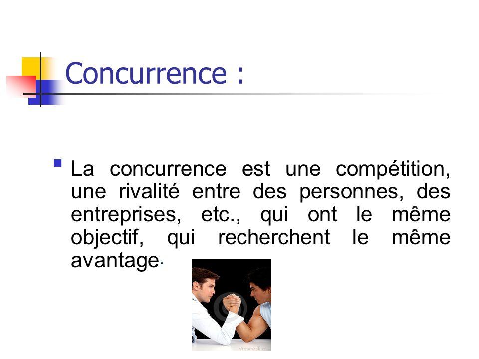 Concurrence : La concurrence est une compétition, une rivalité entre des personnes, des entreprises, etc., qui ont le même objectif, qui recherchent le même avantage.