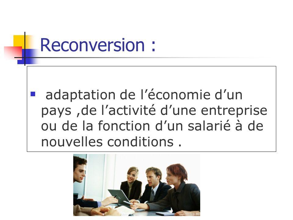 Reconversion : adaptation de léconomie dun pays,de lactivité dune entreprise ou de la fonction dun salarié à de nouvelles conditions.