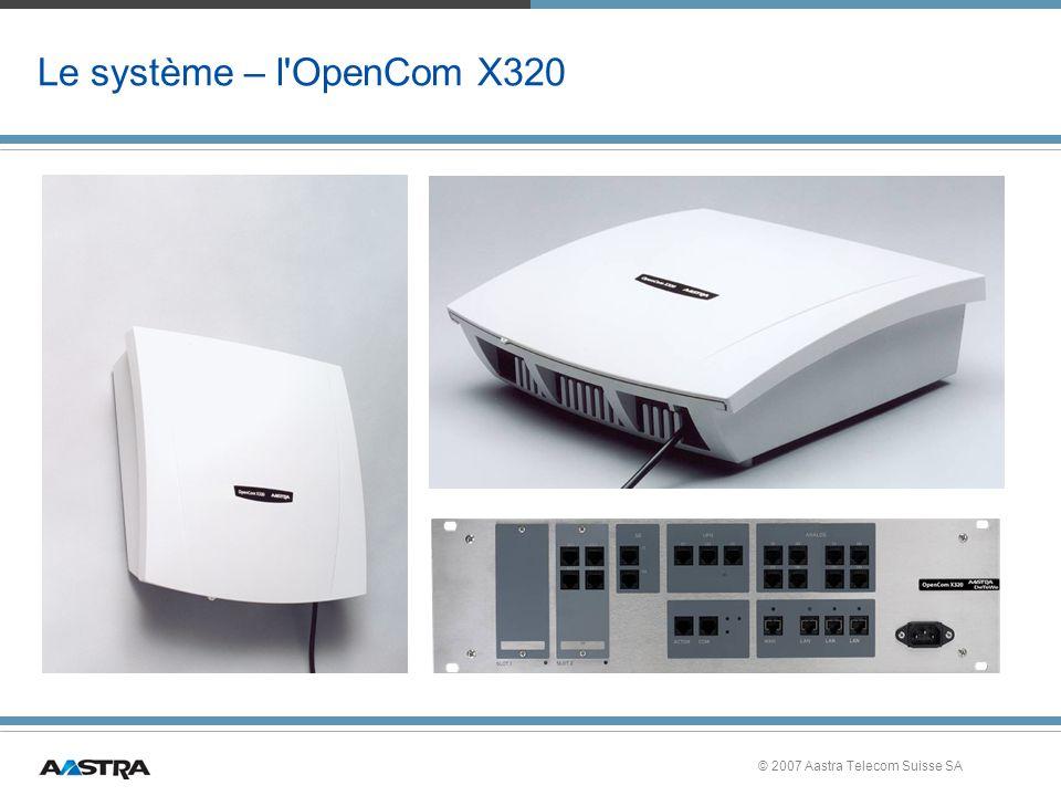 © 2007 Aastra Telecom Suisse SA Le système – l OpenCom X320