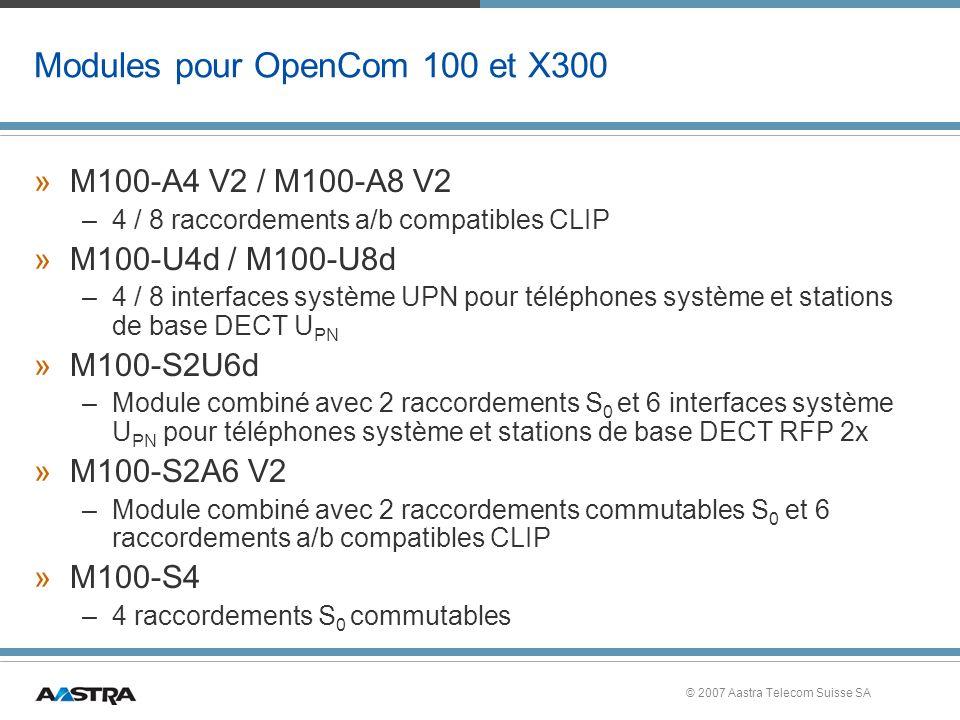 © 2007 Aastra Telecom Suisse SA Modules pour OpenCom 100 et X300 »M100-A4 V2 / M100-A8 V2 –4 / 8 raccordements a/b compatibles CLIP »M100-U4d / M100-U8d –4 / 8 interfaces système UPN pour téléphones système et stations de base DECT U PN »M100-S2U6d –Module combiné avec 2 raccordements S 0 et 6 interfaces système U PN pour téléphones système et stations de base DECT RFP 2x »M100-S2A6 V2 –Module combiné avec 2 raccordements commutables S 0 et 6 raccordements a/b compatibles CLIP »M100-S4 –4 raccordements S 0 commutables