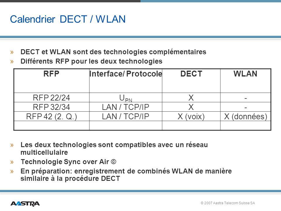 © 2007 Aastra Telecom Suisse SA Calendrier DECT / WLAN »DECT et WLAN sont des technologies complémentaires »Différents RFP pour les deux technologies »Les deux technologies sont compatibles avec un réseau multicellulaire »Technologie Sync over Air © »En préparation: enregistrement de combinés WLAN de manière similaire à la procédure DECT RFPInterface/ ProtocoleDECTWLAN RFP 22/24U PN X- RFP 32/34LAN / TCP/IPX- RFP 42 (2.