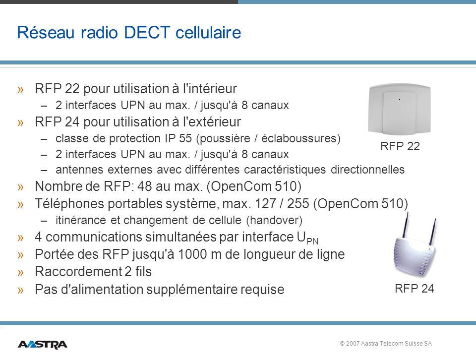 © 2007 Aastra Telecom Suisse SA Réseau radio DECT cellulaire »RFP 22 pour utilisation à l intérieur –2 interfaces UPN au max.