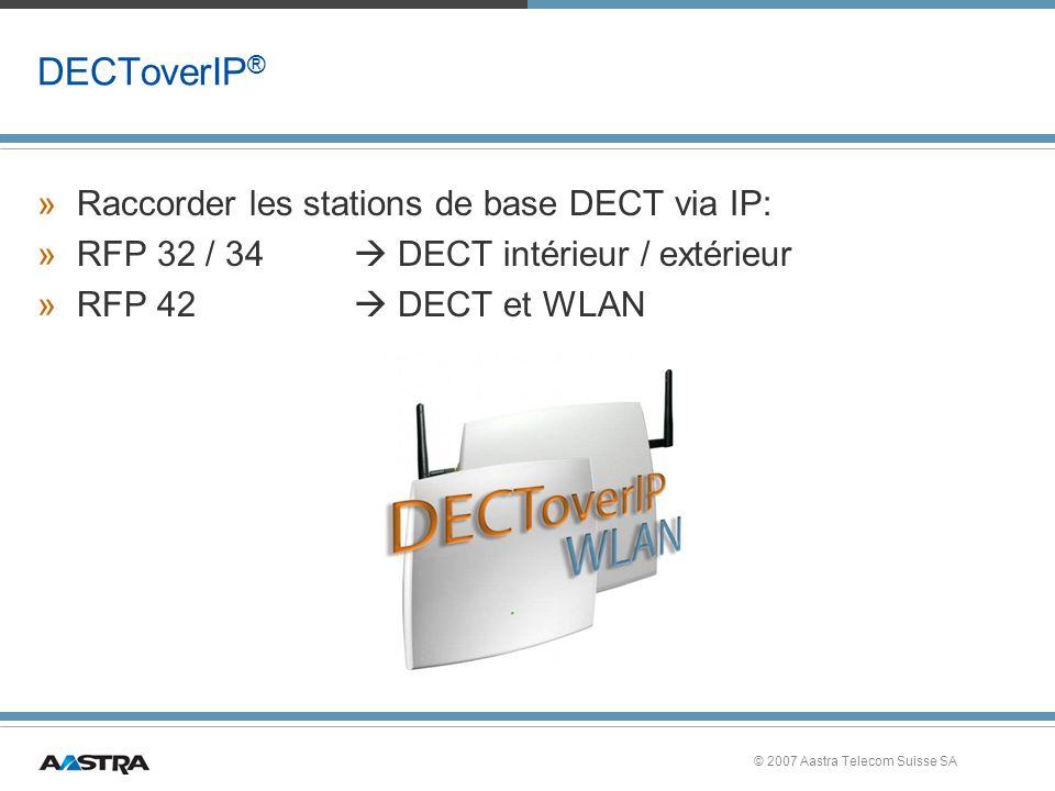 © 2007 Aastra Telecom Suisse SA DECToverIP ® »Raccorder les stations de base DECT via IP: »RFP 32 / 34 DECT intérieur / extérieur »RFP 42 DECT et WLAN