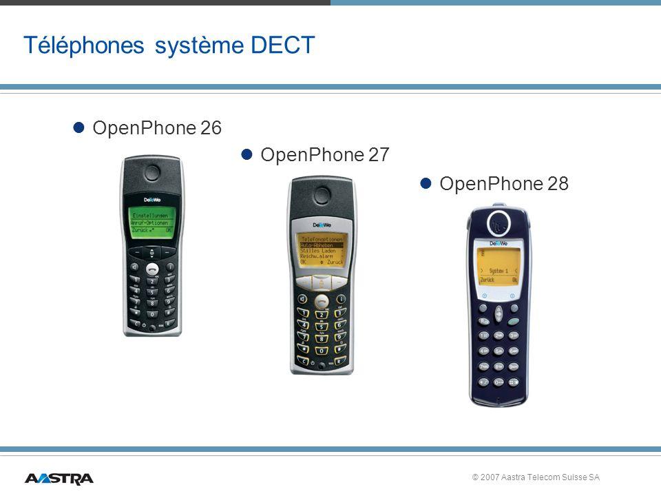 © 2007 Aastra Telecom Suisse SA Téléphones système DECT OpenPhone 27 OpenPhone 26 OpenPhone 28