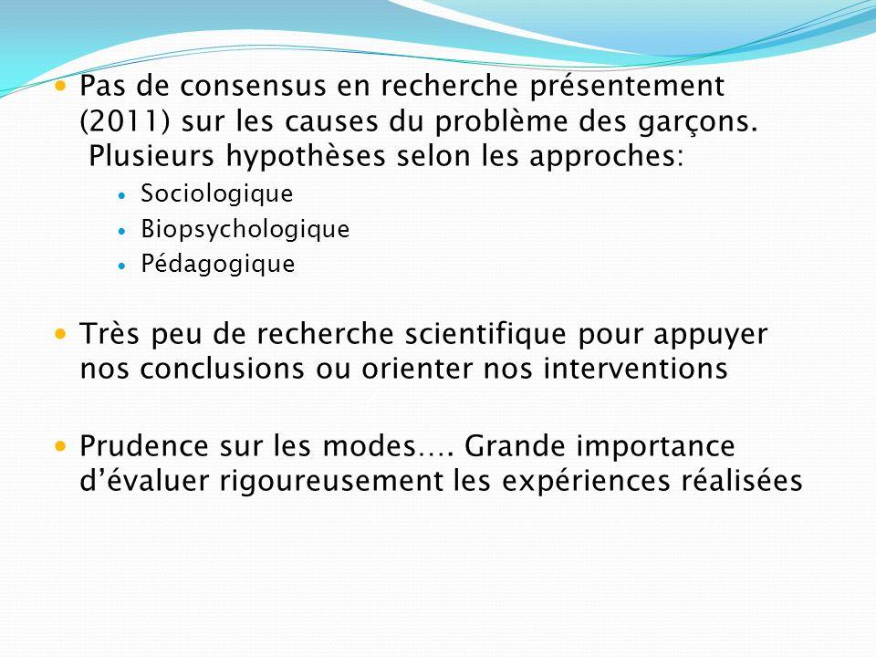 Pas de consensus en recherche présentement (2011) sur les causes du problème des garçons. Plusieurs hypothèses selon les approches: Sociologique Biops