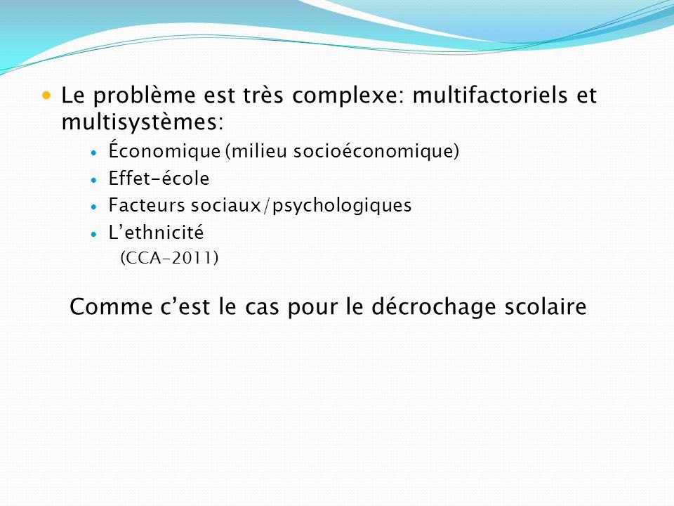 Le problème est très complexe: multifactoriels et multisystèmes: Économique (milieu socioéconomique) Effet-école Facteurs sociaux/psychologiques Lethn