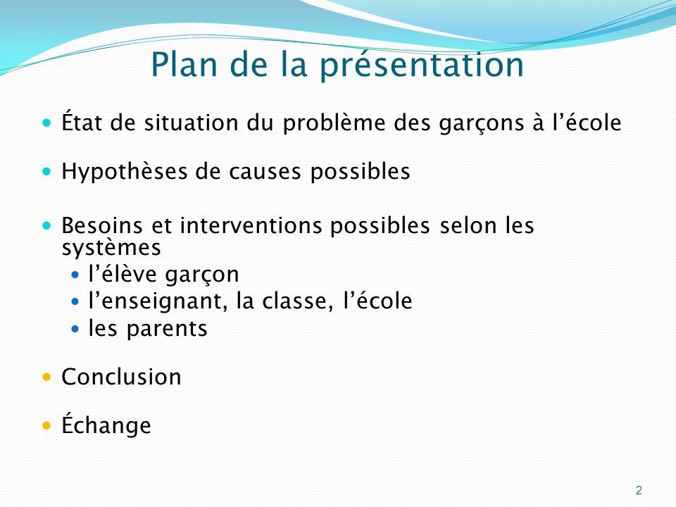 Plan de la présentation État de situation du problème des garçons à lécole Hypothèses de causes possibles Besoins et interventions possibles selon les