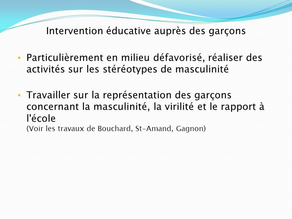 Intervention éducative auprès des garçons Particulièrement en milieu défavorisé, réaliser des activités sur les stéréotypes de masculinité Travailler