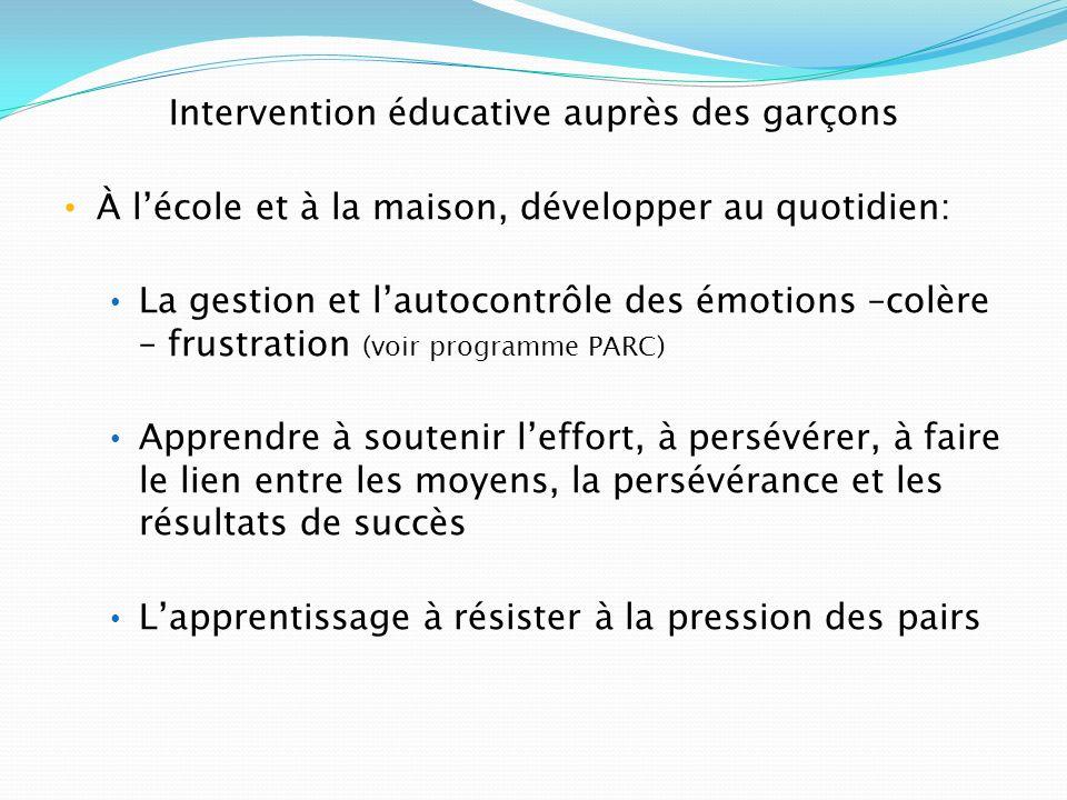Intervention éducative auprès des garçons À lécole et à la maison, développer au quotidien: La gestion et lautocontrôle des émotions –colère – frustra