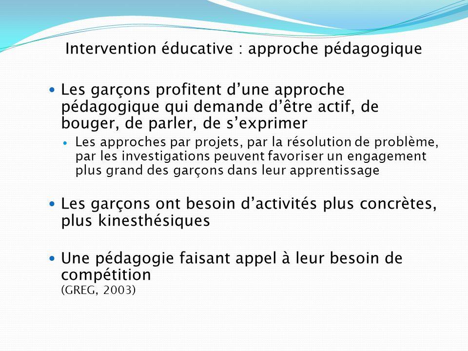 Intervention éducative : approche pédagogique Les garçons profitent dune approche pédagogique qui demande dêtre actif, de bouger, de parler, de sexpri