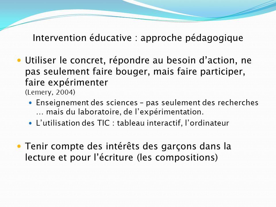 Intervention éducative : approche pédagogique Utiliser le concret, répondre au besoin daction, ne pas seulement faire bouger, mais faire participer, f