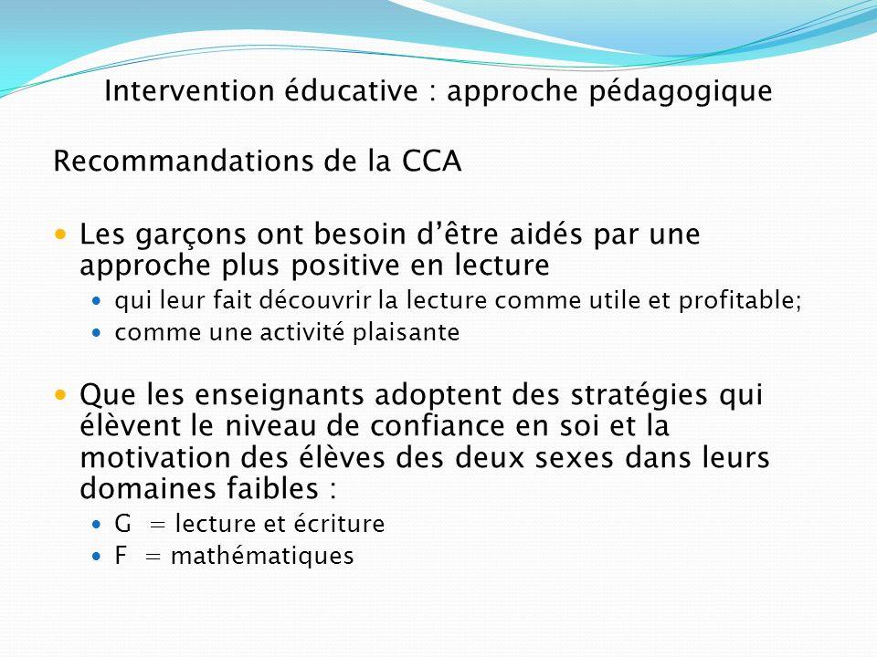 Intervention éducative : approche pédagogique Recommandations de la CCA Les garçons ont besoin dêtre aidés par une approche plus positive en lecture q